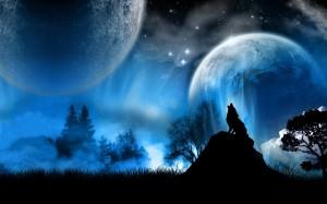 loup hurlant dans la nuit bleu